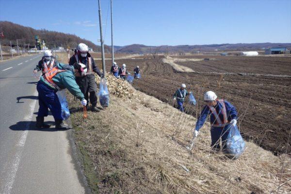 道道日吉端野線の清掃活動